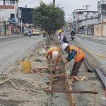 Excavación para instalación de tuberías y construcción de bordillos en avenida