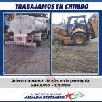 TRABAJOS DE RECONFORMACION VIAL  EN CHIMBO